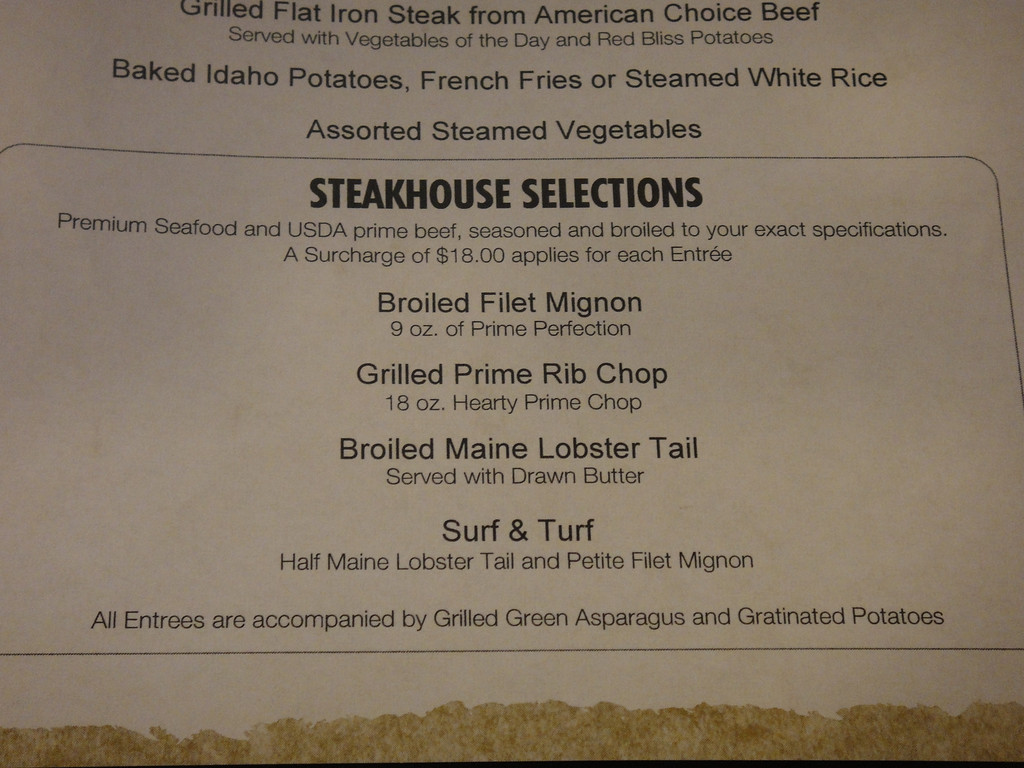 steakhouse entrees in the mdr - cruise critic message board forums
